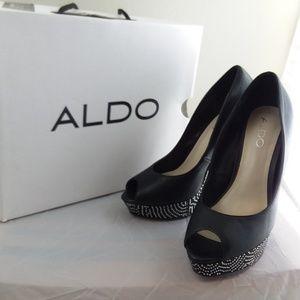 Aldo Shoes - ALDO Ibalede-97 Sequined Open-Toe Black Heels sz 8